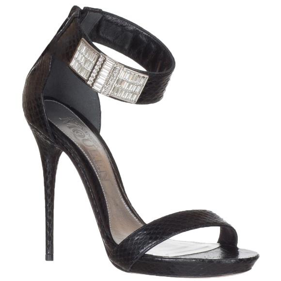 23f116087492 Black Python Ankle Strap Crystals Heels Sandals